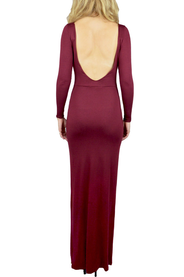 Burgundy Low Back Dress back