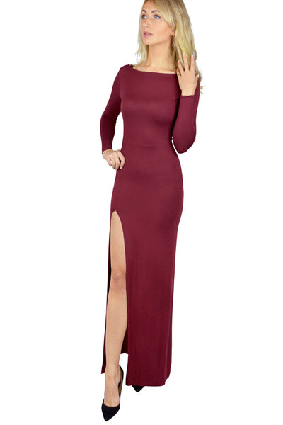 Burgundy Low Back Dress