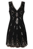 black flapper dress front