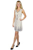 cream sequin flapper dress