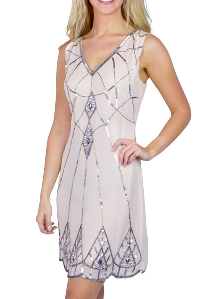 Aimee Nude Flapper Dress