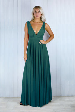 Zola Pleated Maxi Dress in Forest Green