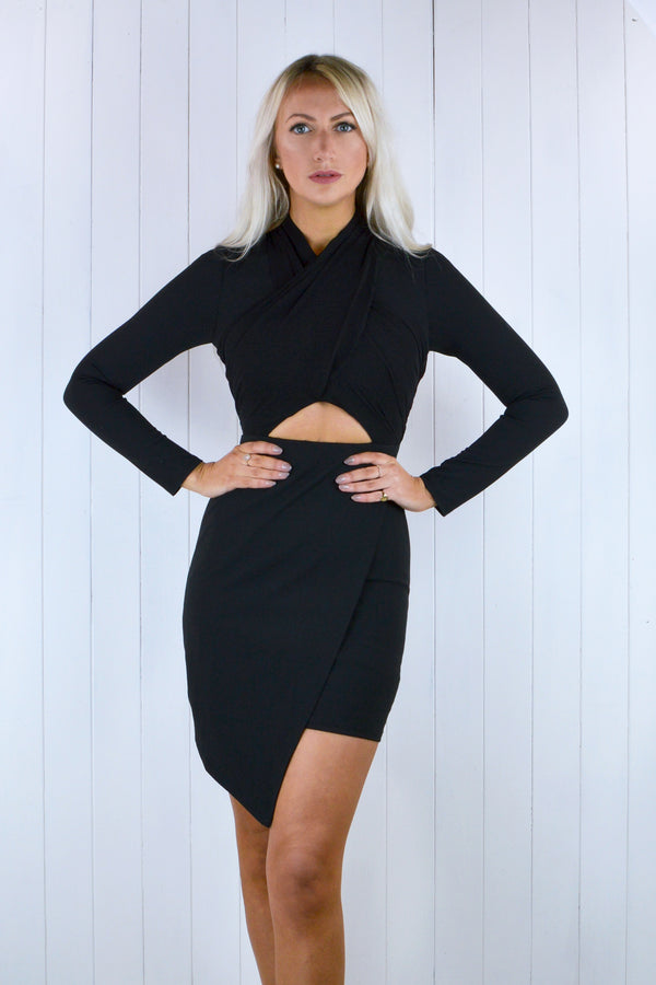 Gina Asymmetric High Neck Dress