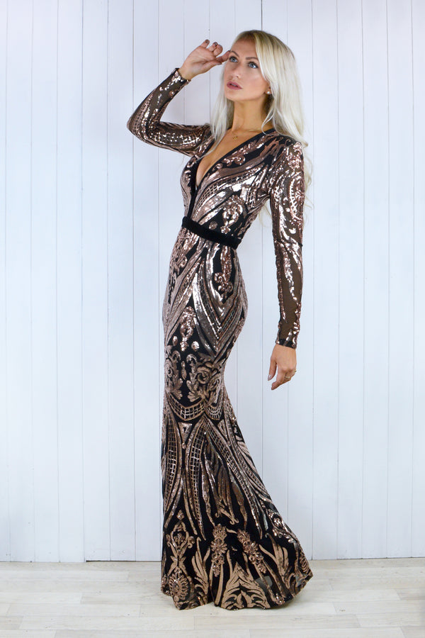Naomi Rose Gold Sequin Baroque Fishtail Dress