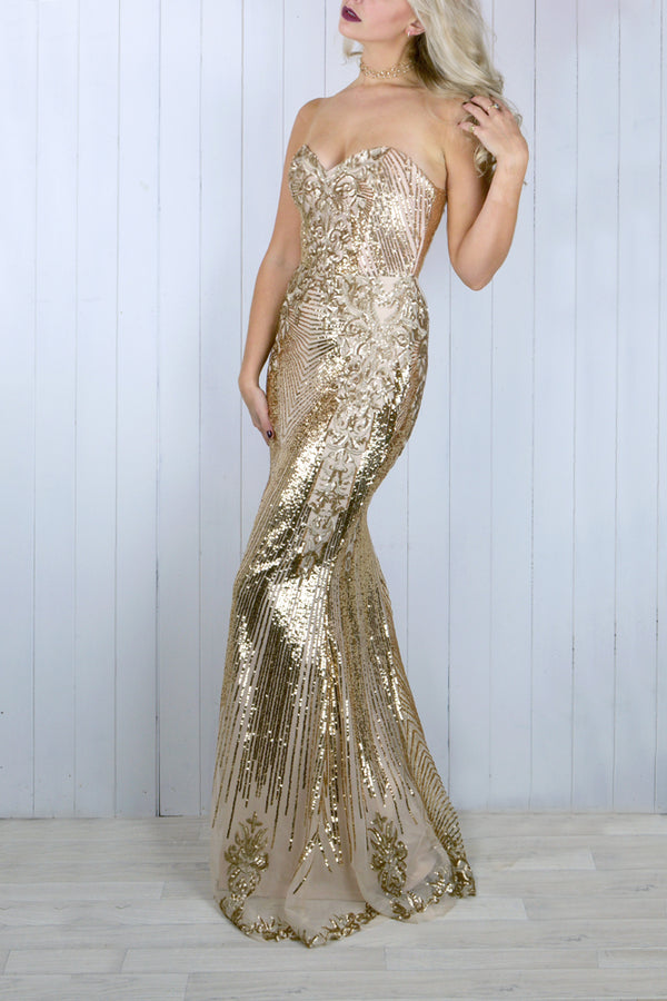 Juliet Gold Brocade Gown