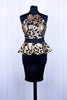 Gold Sequin Embellished Peplum Dress
