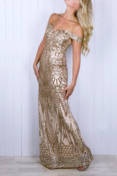 Courtney Gold Sequin Bardot Dress - Size 12