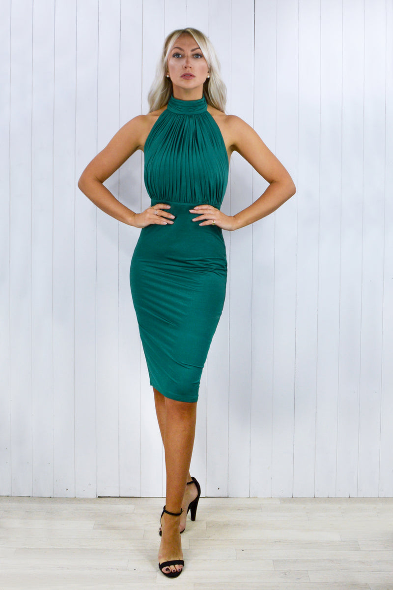 Janette Emerald Halter Neck Midi Dress