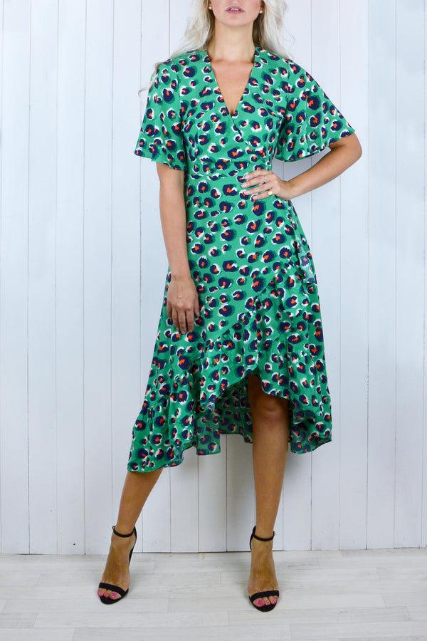 Ariana Wrap Frill Dress - Green Leopard
