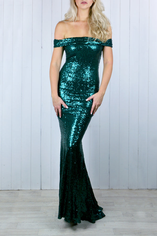Tania Bardot Forest Green Sequin Dress