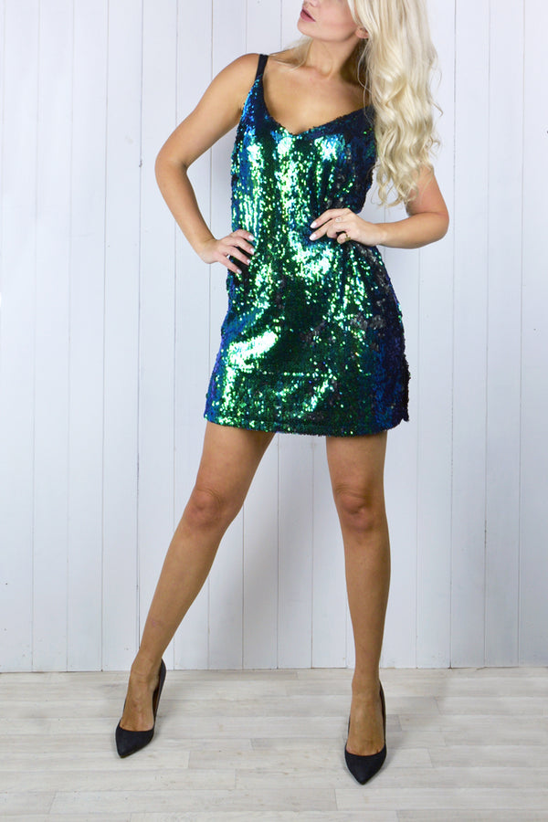 Bella Green Sequin Cami Dress