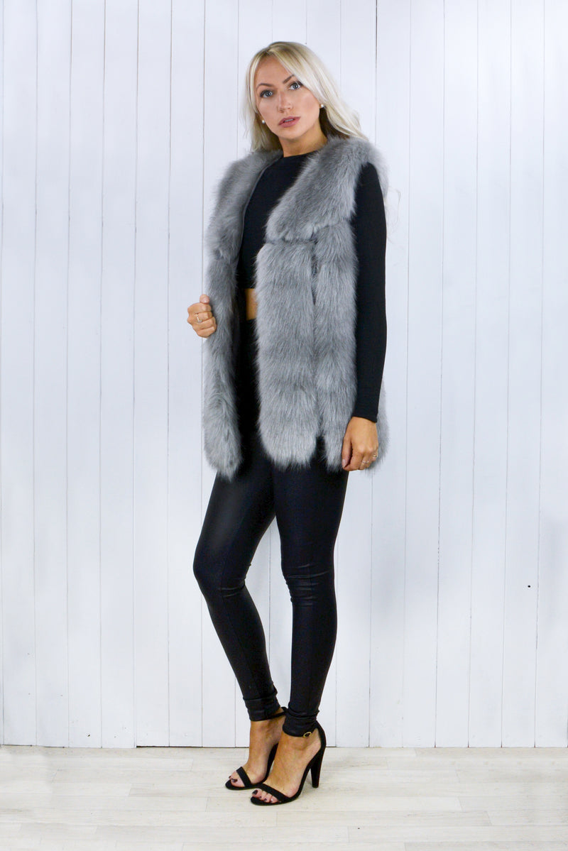 Colley Faux Fur Grey Gilet