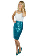 turquoise Houndstooth Sequin Pencil Skirt