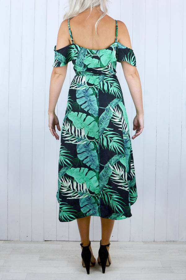 Luella Tropical Cold Shoulder Dress