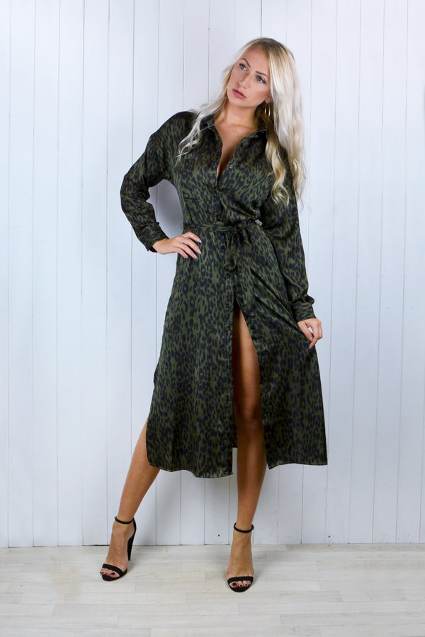 Briony Khaki Leopard Print Shirt Dress