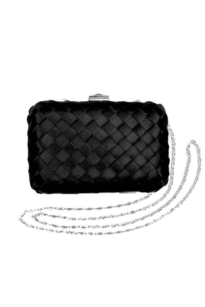 Black Satin Lattice Clutch Bag