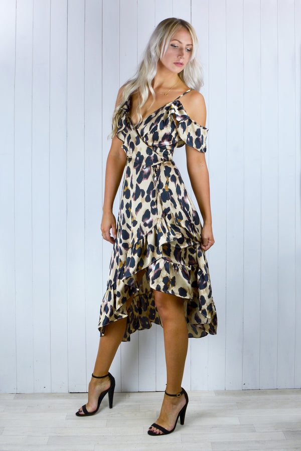 Angelica Wrap Tea Dress - Leopard Print