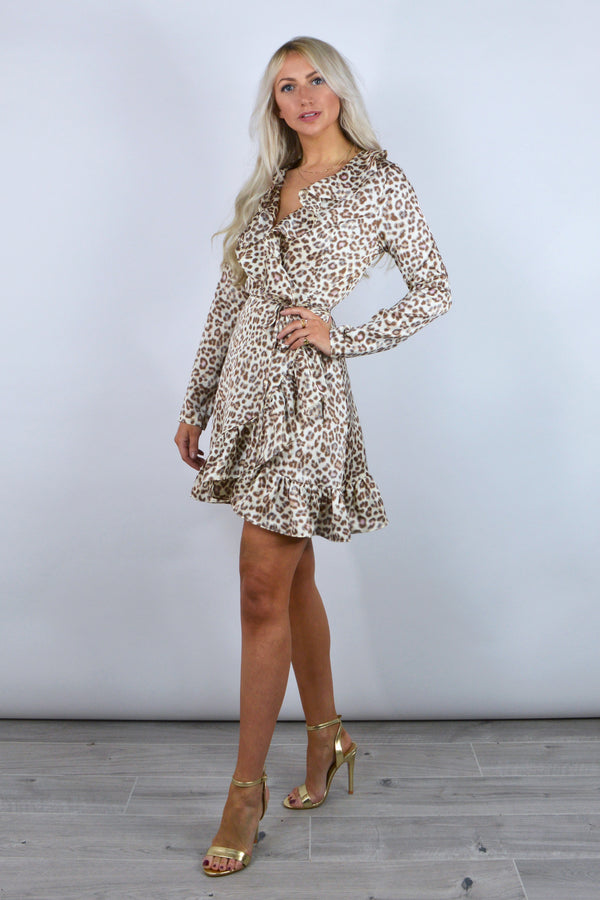 Roxy Leopard Frill Wrap Dress