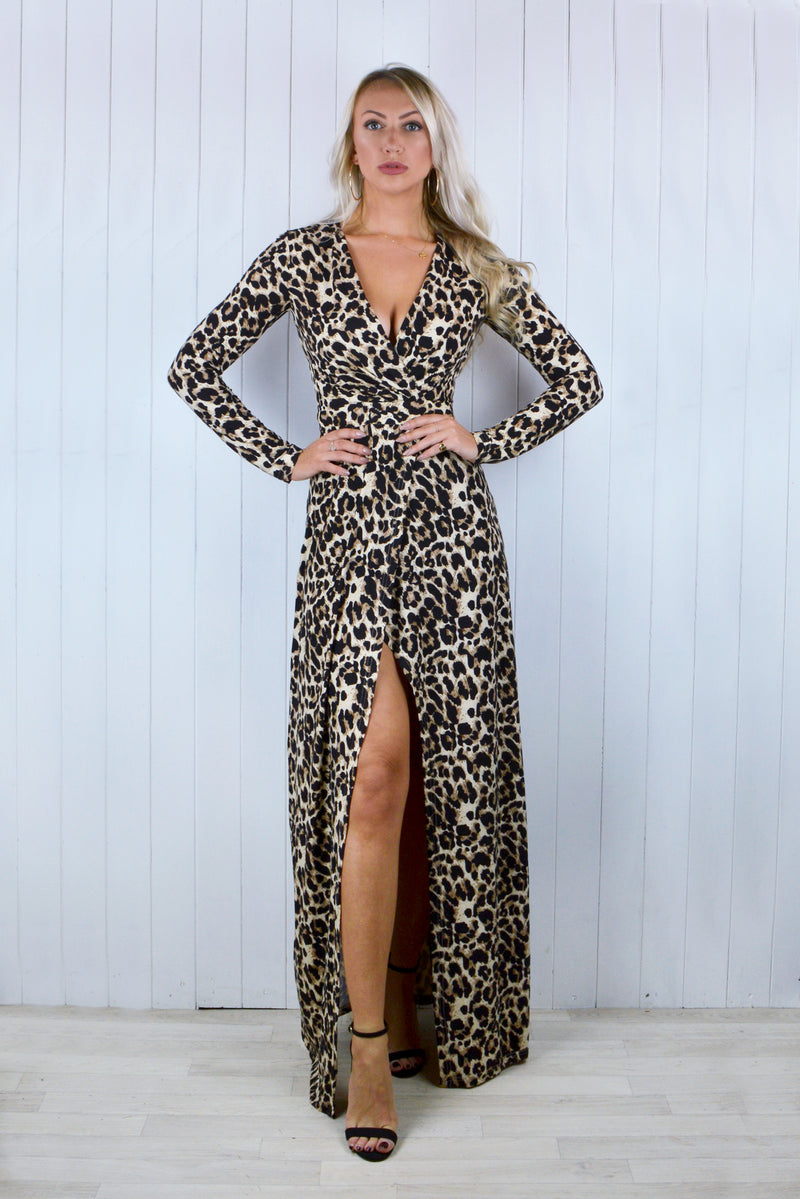 Zara Leopard Print Long Sleeve Maxi Dress