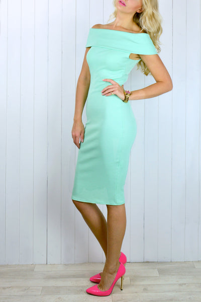 Tallie Off the Shoulder Mint Dress