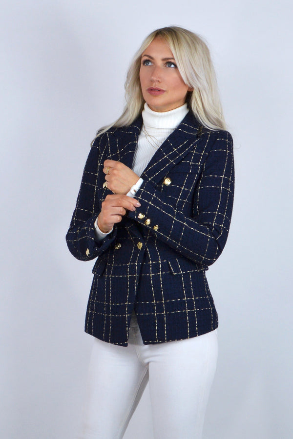 Connie Double Breasted Check Tweed Blazer in Navy