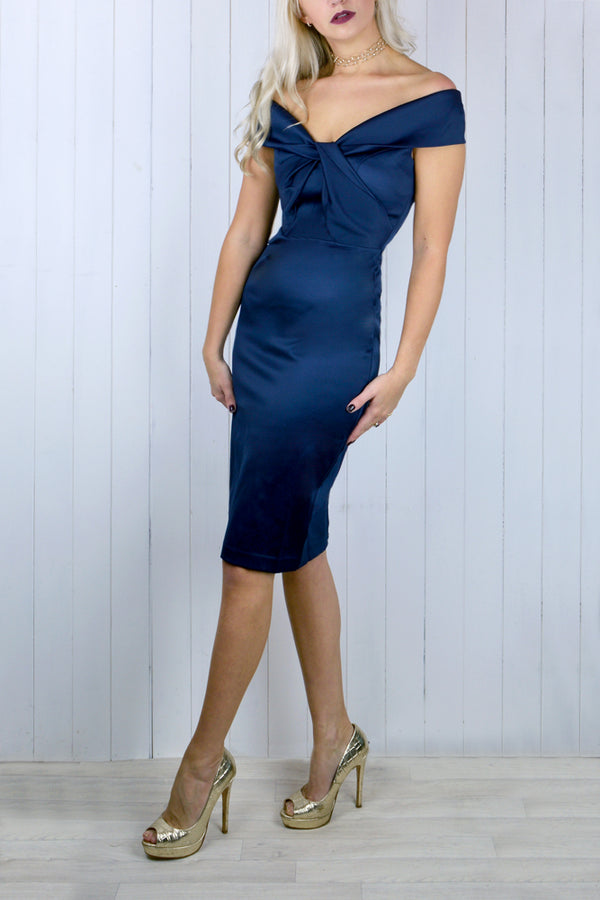 Catrina Folded Bardot Pencil Dress