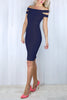Carly Navy Bardot Bodycon Dress