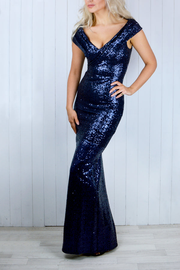 Diana Bardot Navy Blue Sequin Dress