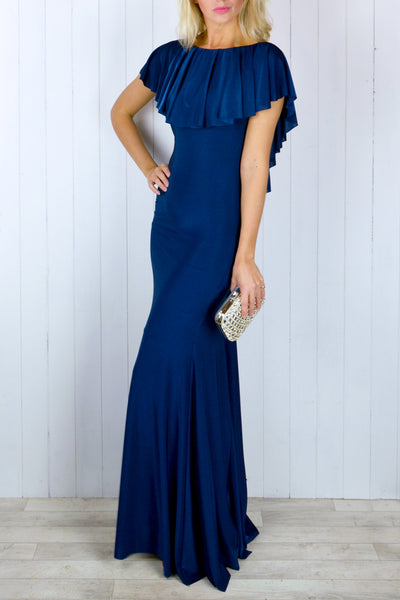 Cynthia Navy Frill Dress