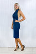 Janette Navy Halter Neck Midi Dress
