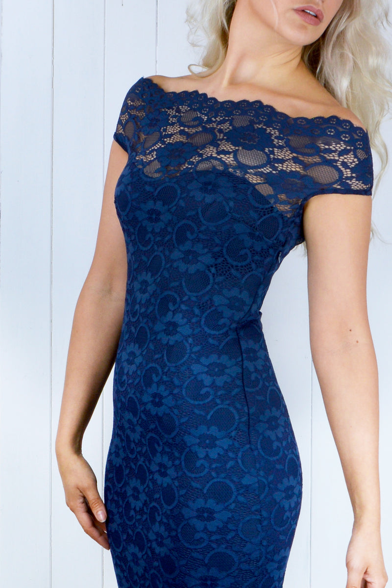 Jasmine Navy Lace Bardot Dress