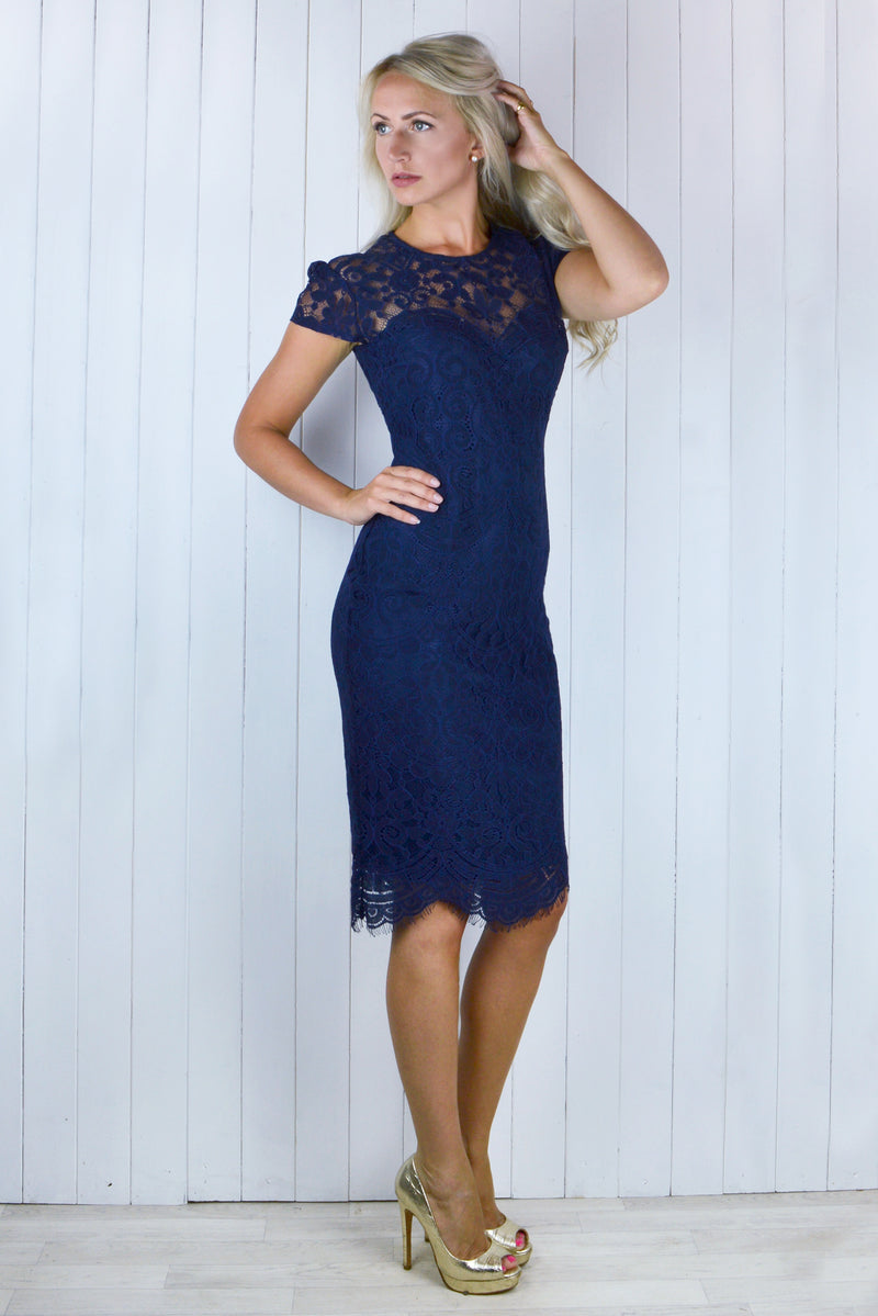 Bianca Lace Dress - Navy Blue