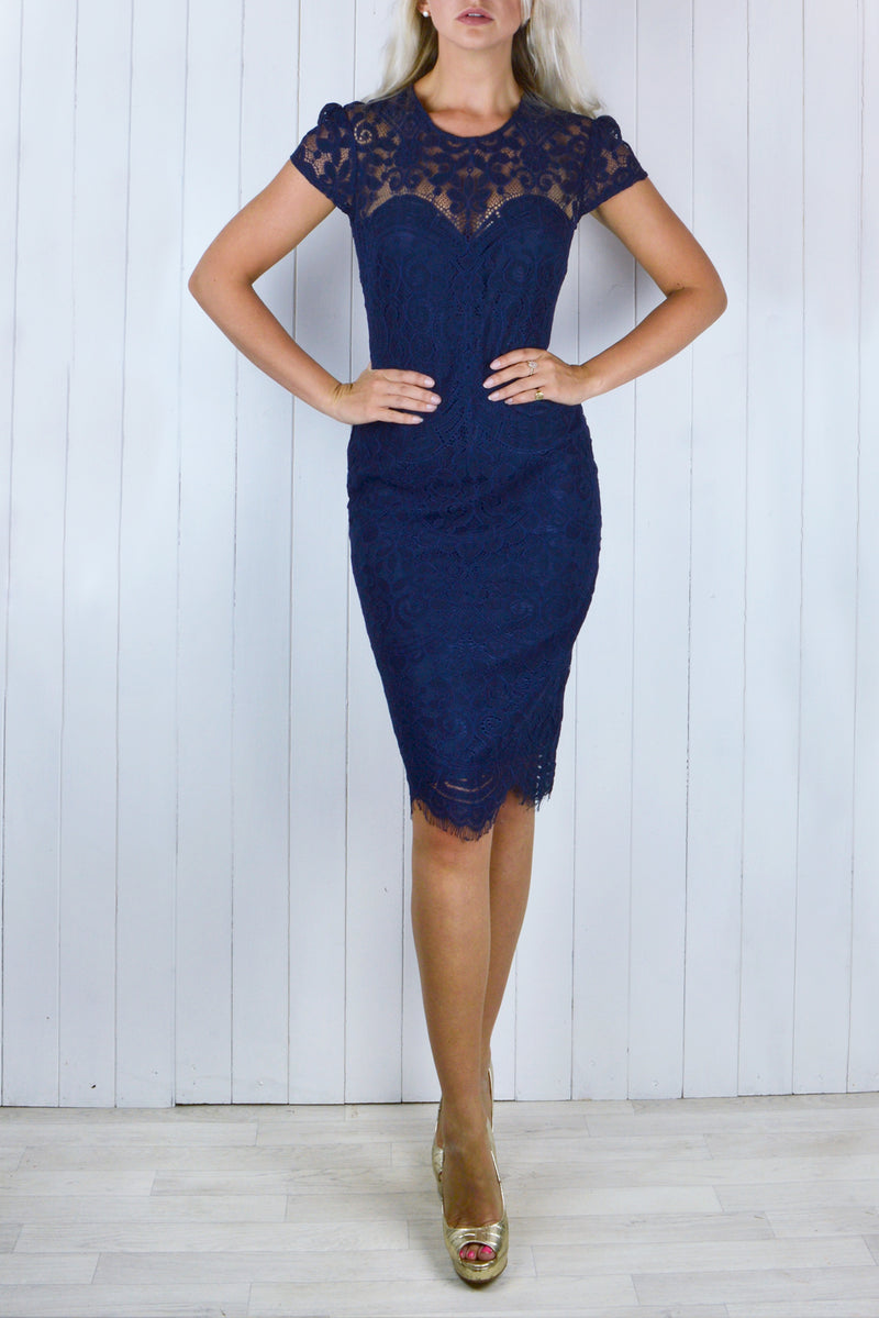 ee18eae217 Bianca Lace Dress - Navy Blue – Henry Hunt