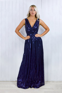 Alice Navy Blue Maxi Sequin Gathered Dress