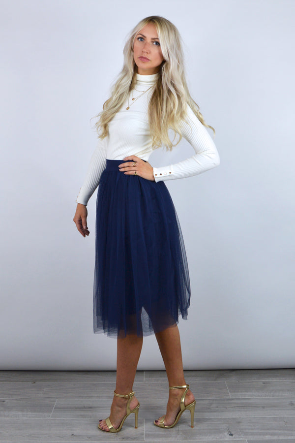 Tallulah Tutu Net Midi Skirt in Navy