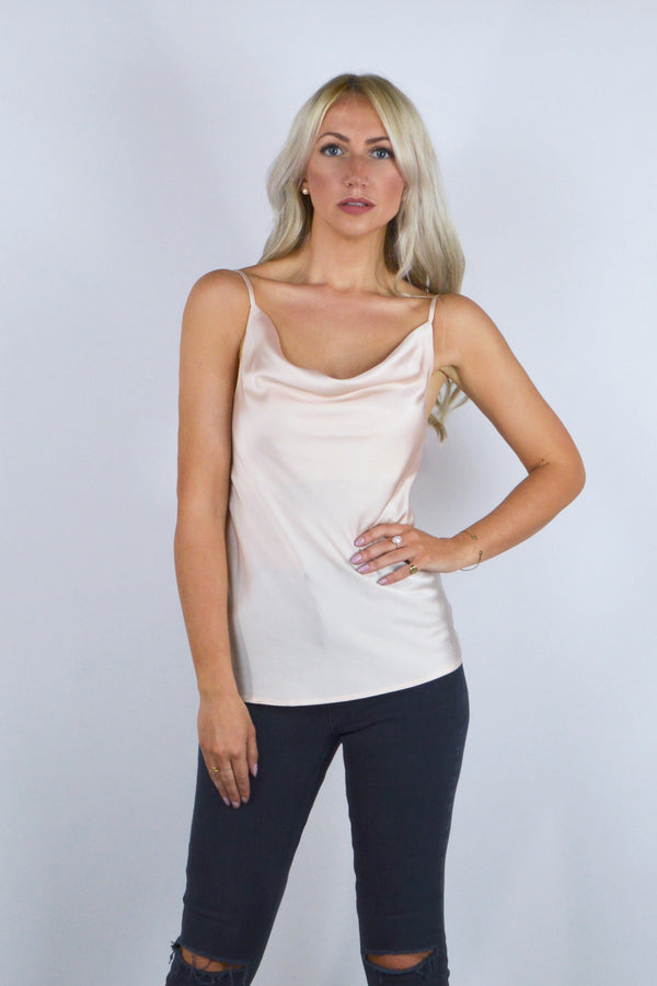 Sally Satin Cowl Neck Cami Top in Blush