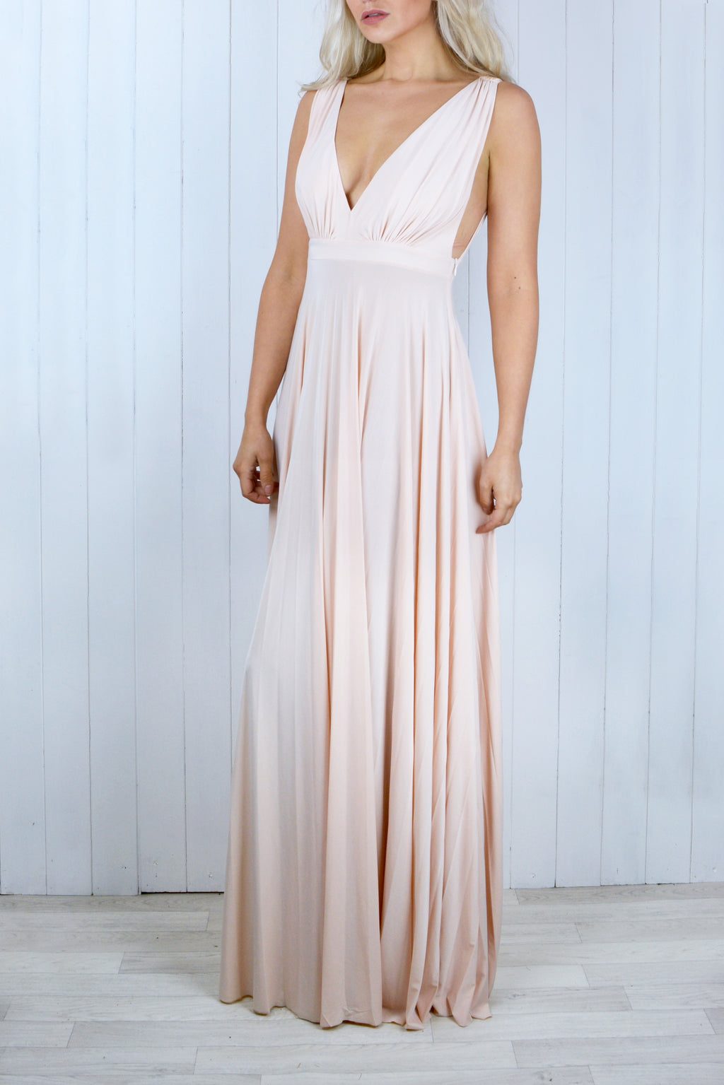 Zola Pleated Maxi Dress in Nude