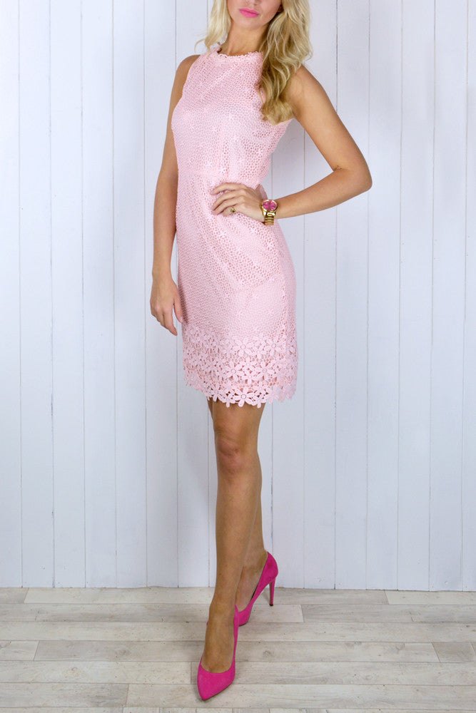 Jemima Blush Pink Lace Dress