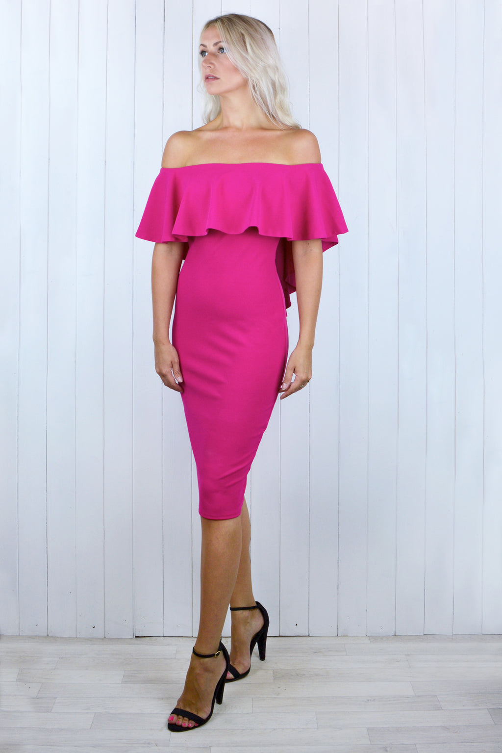 Jennifer Pink Bardot Bow Back Dress