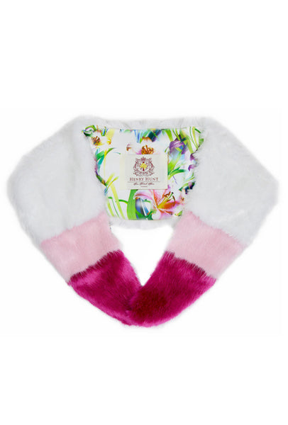 White / Pink Faux Fur Collar