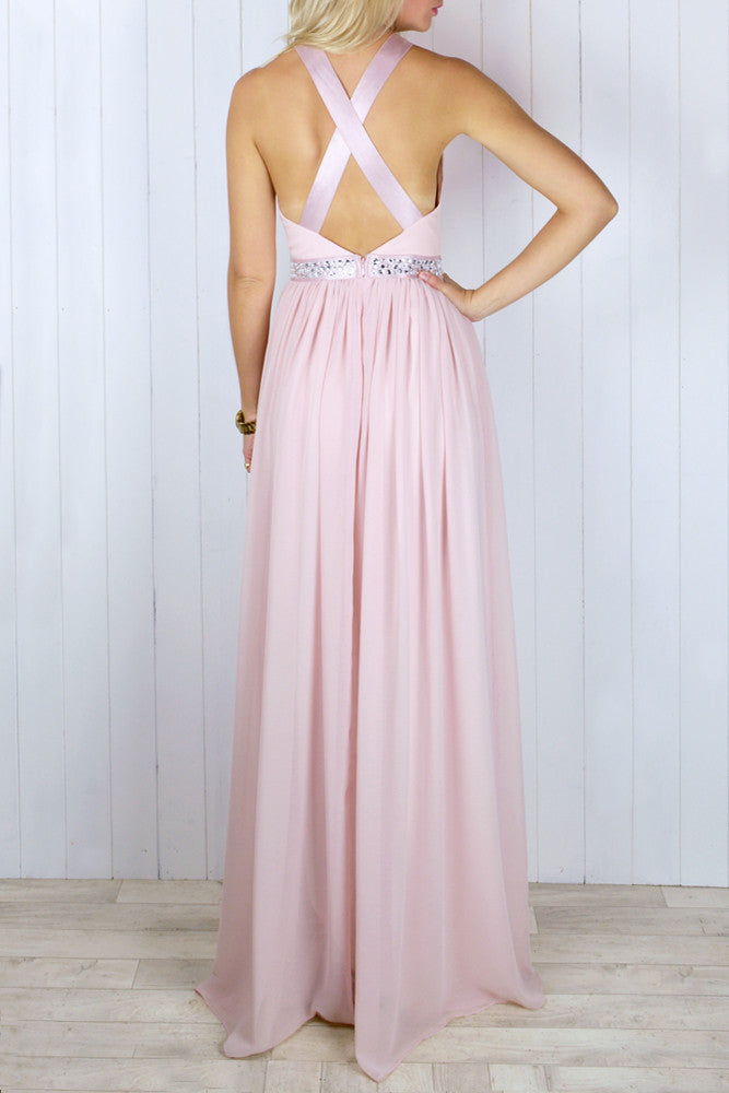 Constance Blush Chiffon Embellished Dress