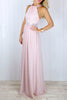 Constance Blush Chiffon Embellished Dress - Size 14