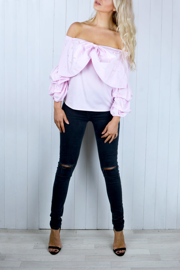Georgia Bardot Bow Top in Pink