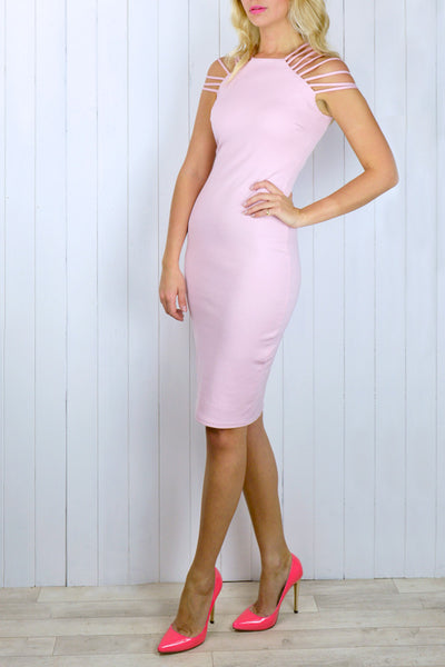 Sara Blush Pink Strappy Bodycon Dress