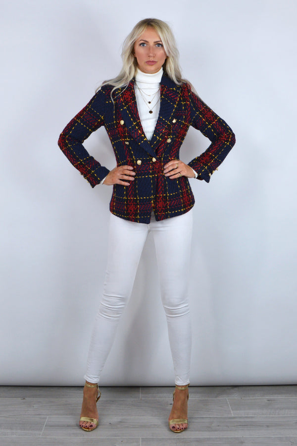 Connie Double Breasted Tartan Tweed Blazer