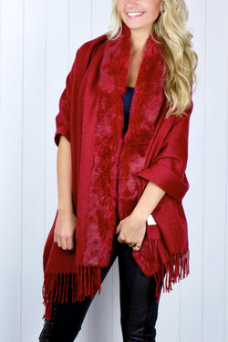 Red Fur Trim Shawl