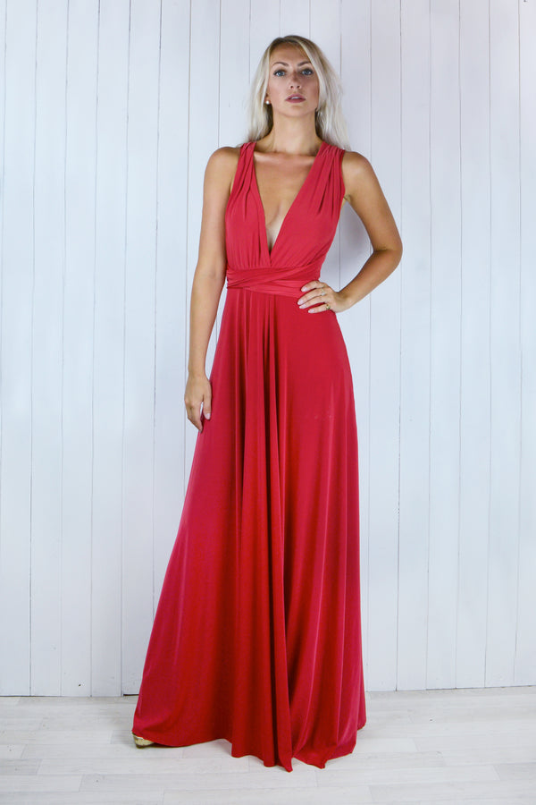 Sienna Multi Tie Red Maxi Dress