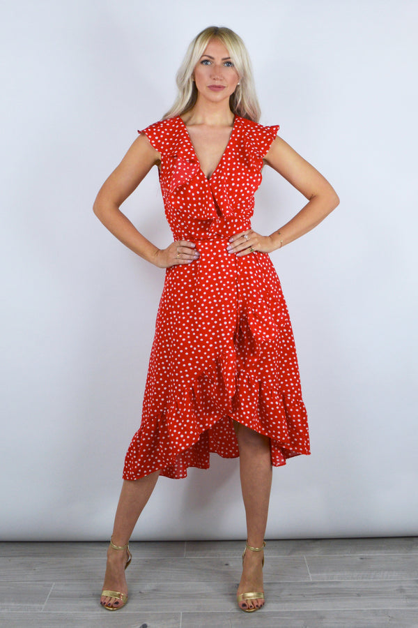 Miranda Polka Dot Frill Wrap Dress