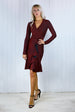 Miranda Wine Sparkle Frill Dress