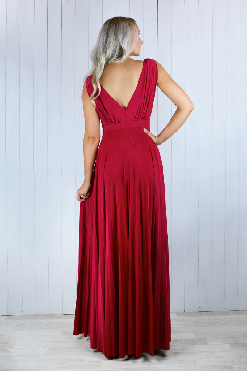 Zola Pleated Maxi Dress in Red